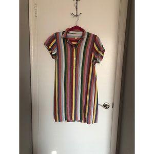 J. Crew - Rainbow Striped Shirt Dress